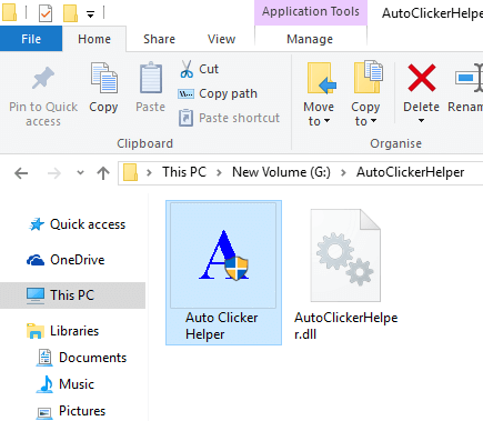 Auto Clicker Helper Application File in Windows Explorer to Support Special Keyboard Shortcuts