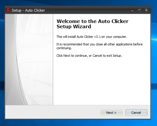 First Screen of Installation Wizard of Auto Clicker Setup