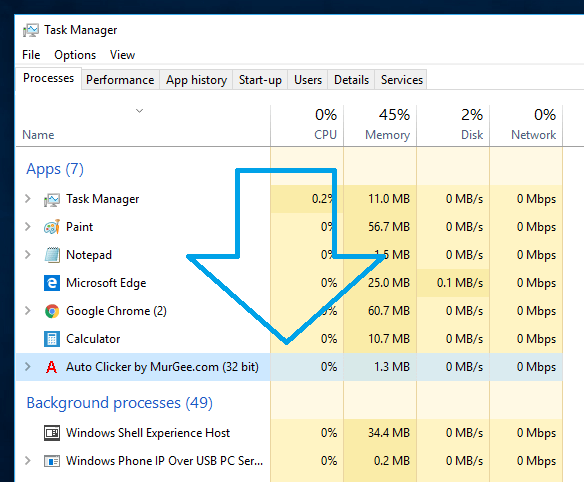 Auto Clicker using Minimal Computer Resources as displayed in Task Manager