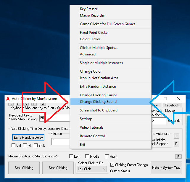 Change Automated Clicking Sound in Right Click menu of Auto Clicker