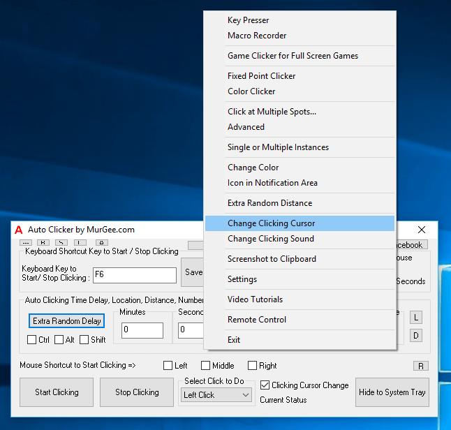 Change Clicking Cursor in Right Click Menu of Auto Clicker