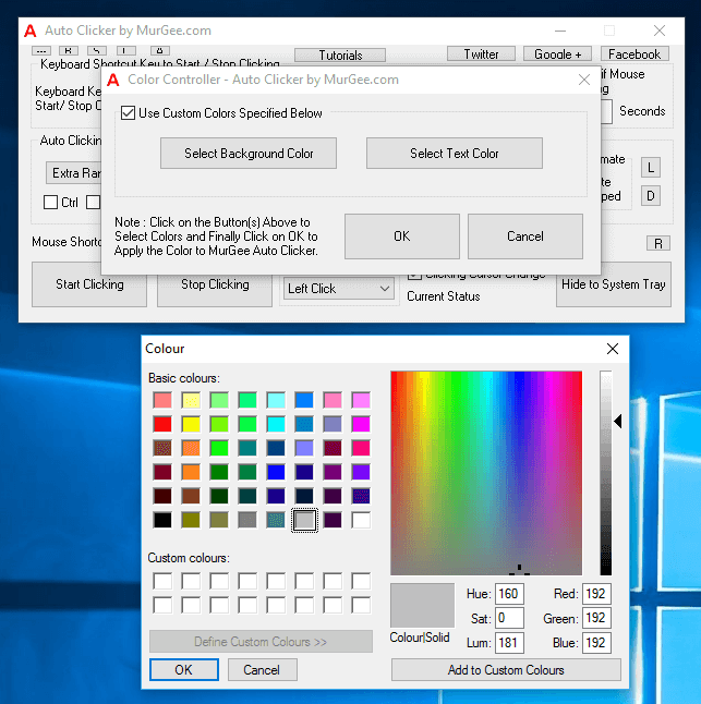 Color Controller Screen of Auto Clicker
