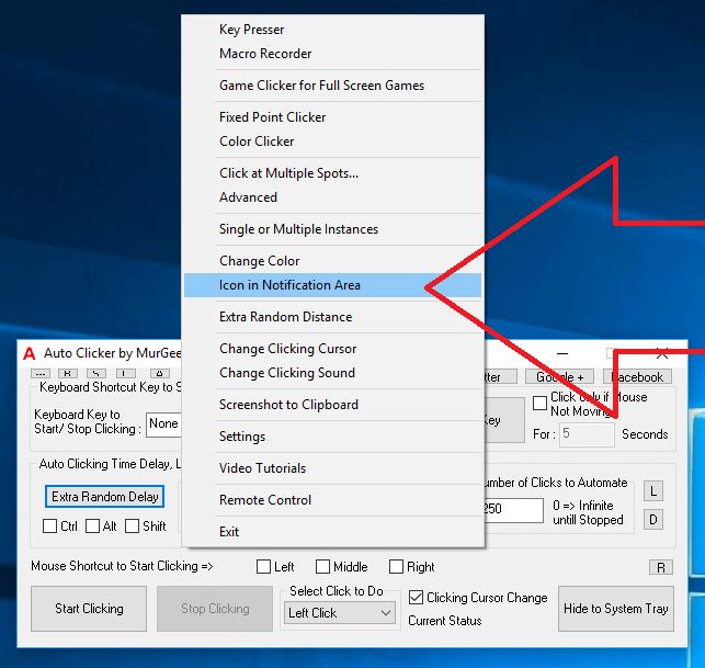 Configure Auto Clicker Icon from Icon in Notification Area Menu from Right Click Menu of Auto Clicker