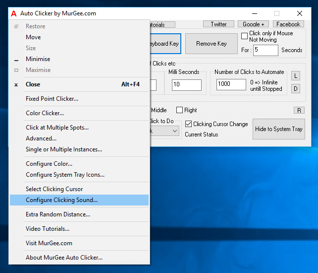 Configure Automated Mouse Clicking with System Menu of Auto Clicker