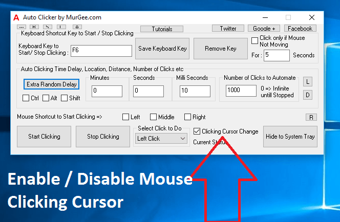 Enable or Disable Mouse Clicking Cursor for Automated Mouse Clicking by Auto Clicker