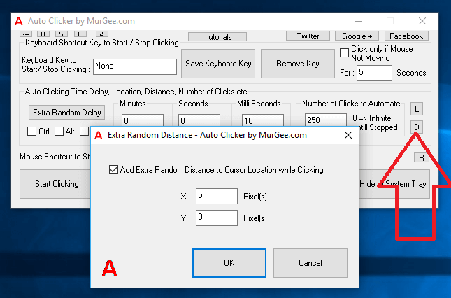 Extra Random Distance for Automated Mouse Clicking by Auto Clicker