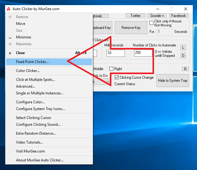 Fixed Point Clicker Menu in System Menu of Auto Clicker