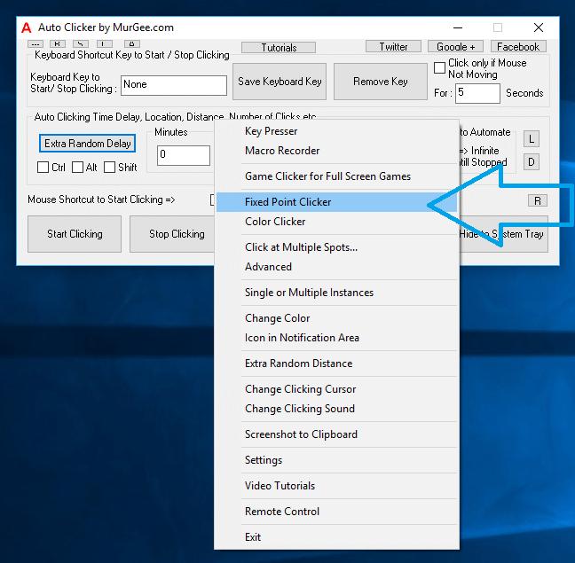 Fixed Point Mouse Clicker Menu in Right Click Menu of Auto Clicker
