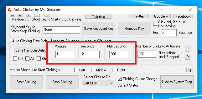 Fixed Time Delay between Consective Mouse Clicks