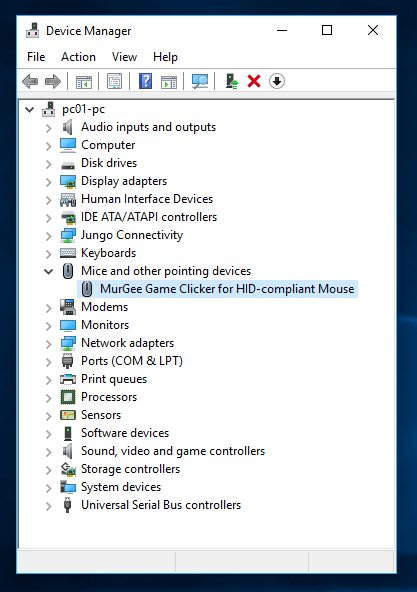 Game Clicker Installation Confirmation in Windows Device Manager