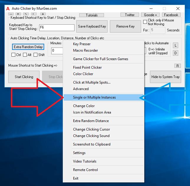Instance Controller Menu in Right Click Menu of Auto Clicker