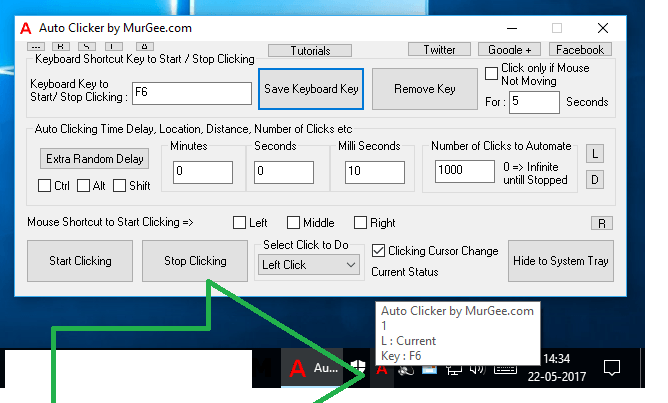 Keyboard Shortcut Assigned in Auto Clicker to Start or Stop Mouse Clicking