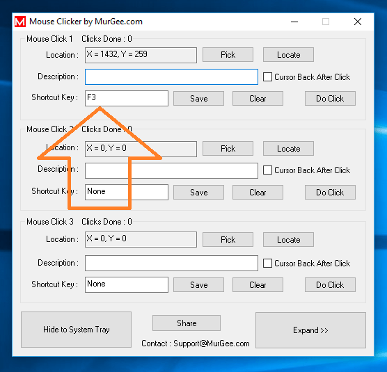 Keyboard Shortcut to Click Mouse at fixed Screen Location