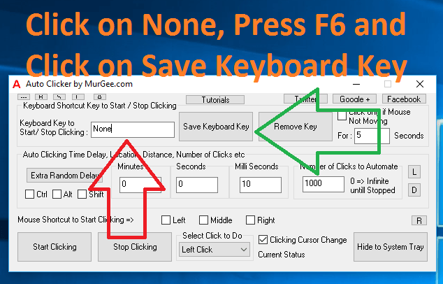Keyboard Shortcut to Start or Stop Clicking of Auto Clicker