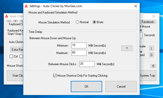Time Delay between Mouse Down and Mouse Up Configurable from Auto Clicker Settings